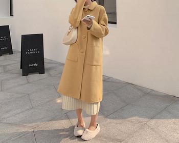 Ежедневно дамско дълго палто с джобове