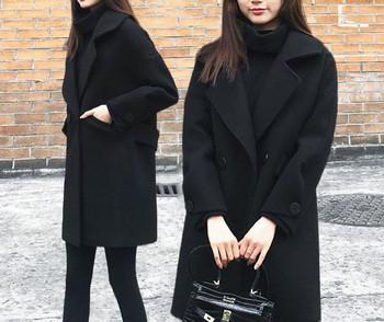 Нов модел дамско зимно палто с джобове в черен цвят