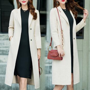 Нов модел дамско зимно дълго палто с копчета