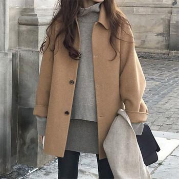 Вълнено дамско палто с копчета и класическа яка