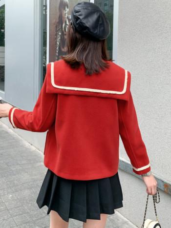 Дамско ежедневно палто къс модел с копчета и джобове