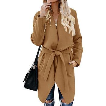Асиметрично палто с дължина до коляното и колан