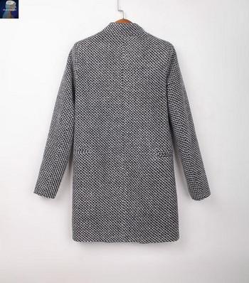 Модерно дамско палто с копче и джобове - размер до 4XL