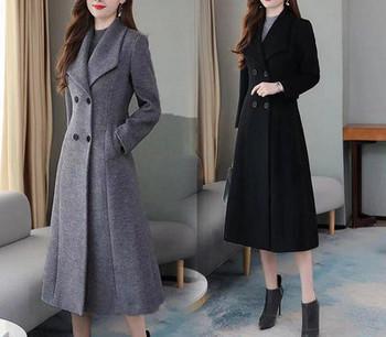 Нов модел дълго дамско палто с шпиц деколте в черен и сив цвят