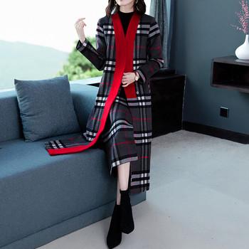 Модерно дамско дълго палто без закопчаване