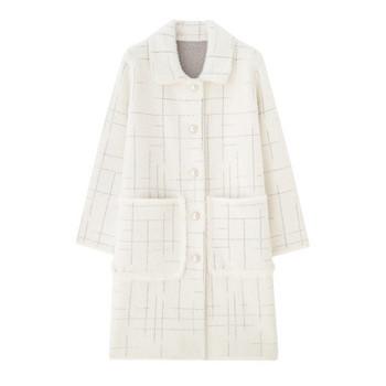 Пухен дамско дълго палто с копчета и джобове