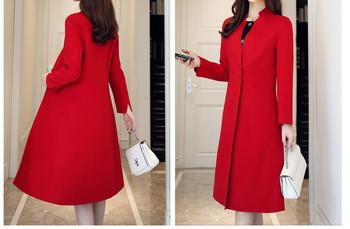 Нов модел дамско палто с шпиц деколте подходящо за зимата