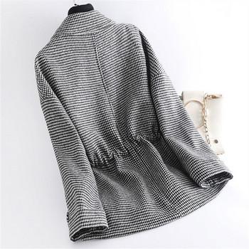 Ежедневно дамско палто с връзки и дълъг ръкав