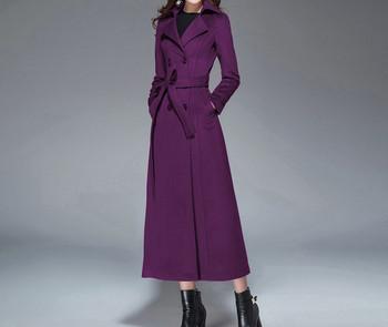Дълго дамско вълнено палто с колан и копчета