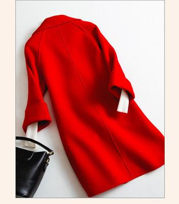 Стилно дълго дамско палто с V-образна яка и джобове