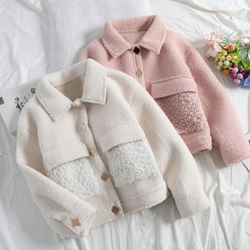 Дамско пухено палто с копчета и класическа яка