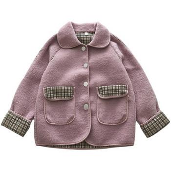 Меко дамско палто с копчета и яка