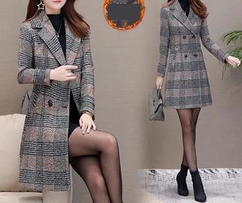 Нов модел дамско карирано палто с копчета Slim модел