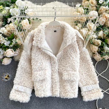 Плюшено дамско палто от вълна с цип