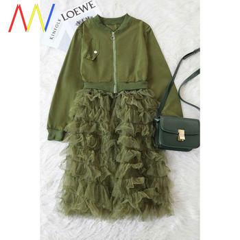 Пролетно дамско палто с къдри и цип