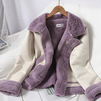 Модерно дамско палто с мека пухена подплата