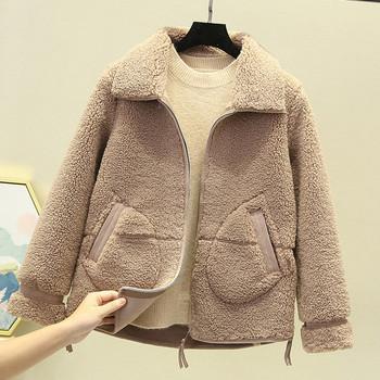 Модерно дамско късо палто с джобове и цип