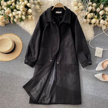 Дълго дамско палто с класическа яка и джобове