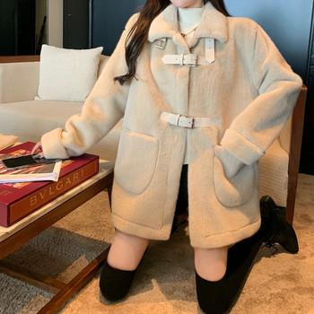 Дамско плюшено палто с висока яка и джобове