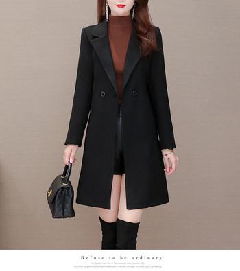 Нов модел дамско палто -с шпиц деколте и копчета