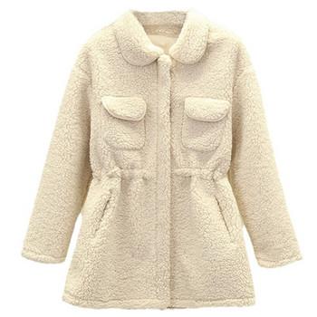 Ежедневно дамско пухено палто с цип и връзки