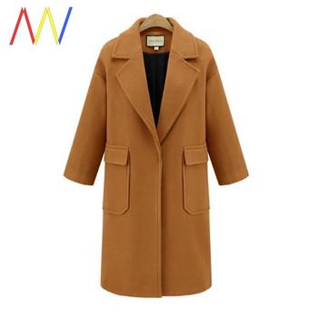Дълго есенно палто с големи джобове и класическа яка