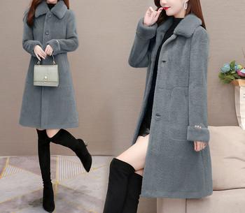 Нов модел дамско пухено палто с яка и джобове