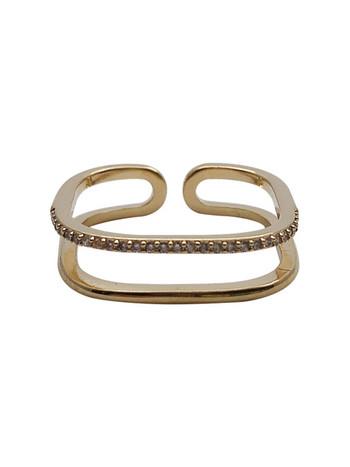 Актуален дамски пръстен с декоративни камъни изчистен модел