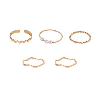 Модерен комплект от дамски пръстени с декоративни перли