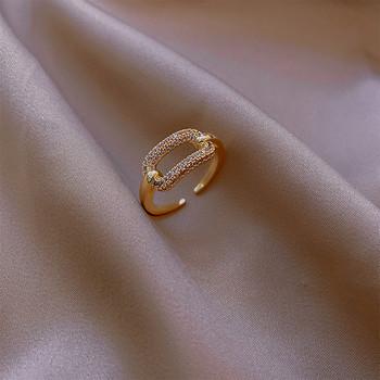 Стилен дамски комплект от два пръстена с камъни