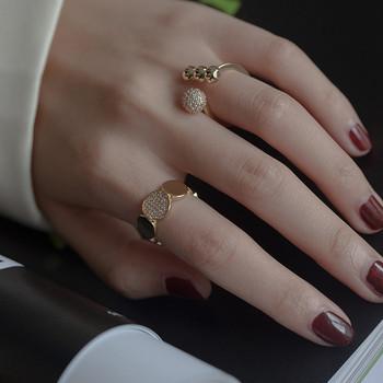 Модерен комплект от два дамски пръстена с камъни