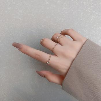 Модерен комплект от дамски пръстени с декоративен камък