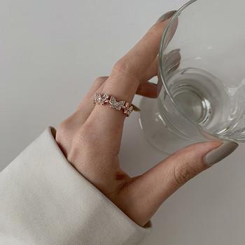 Дамски ежедневен пръстен с пеперуди и декоративни камъни