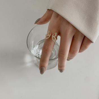 Актуален дамски пръстен с пеперуда и декоративни камъни