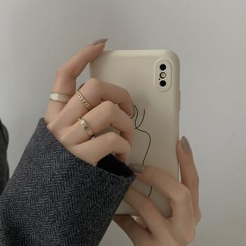Дамски модерен комплект от три пръстени изчистен модел
