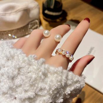 Дамски комплект от пръстени с декоративни перли