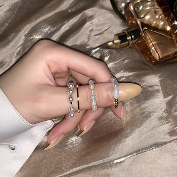 Комплект от дамски пръстени с перли