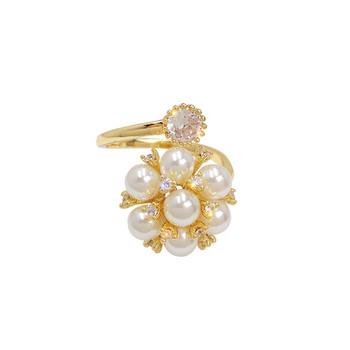 Дамски стилен пръстен с перли и камъни
