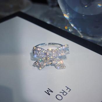 Дамски ежедневен пръстен с панделка и камъни