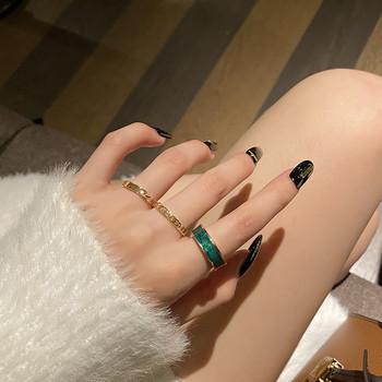 Дамски комплект от три пръстена изчистен модел