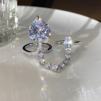Дамски стилен пръстен с верижка и камъни