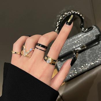 Дамски актуален комплект от пръстени с декоративни камъни