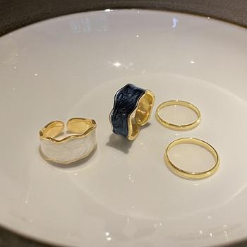 Модерен дамски комплект от два пръстена изчистен модел