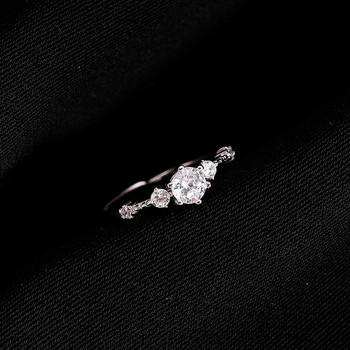Модерен дамски тънък пръстен с декоративни камъни