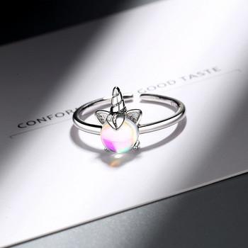 Ежедневен дамски тънък пръстен с камък