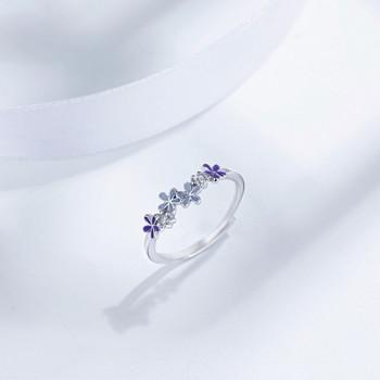 Дамски тънък ежедневен пръстен с цветя