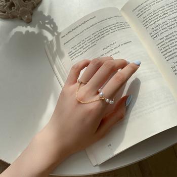 Ежедневен дамски пръстен с верижка и декоративни перли