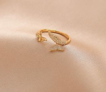 Ежедневен дамски пръстен с пеперуди и камъни