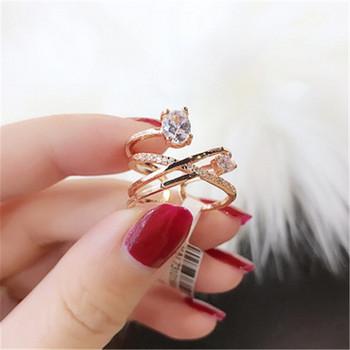 Елегантен дамски пръстен с декоративни камъни