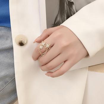 Модерен дамски пръстен с верижка и камъни